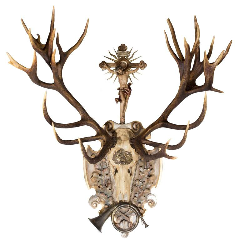 St. Hubertus Red Stag Hunt Trophy with Original Hunt Horn and Crucifix