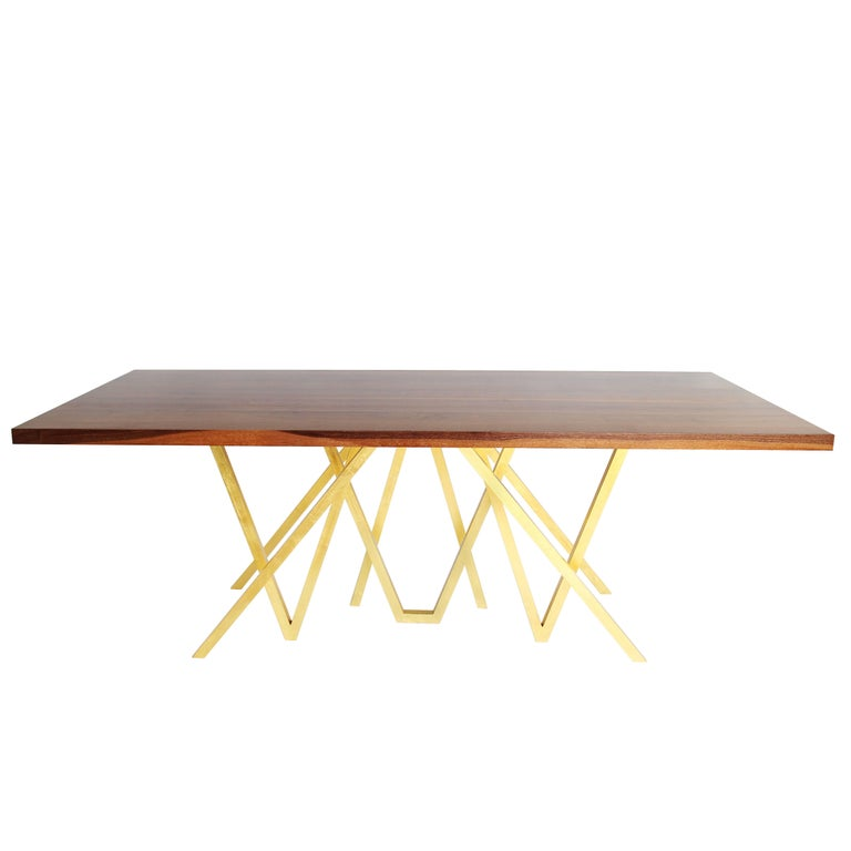 "Contemporary Walnut ""Golden Blaze"" Dining Table by Alex Drew & No One, 2016 For Sale"
