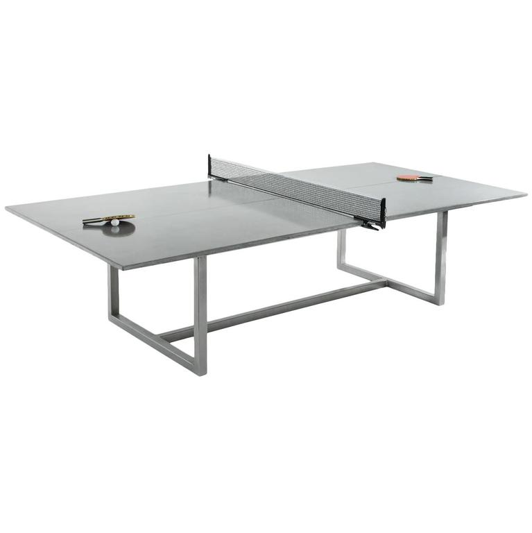 James De Wulf Vue Concrete Ping Pong Table With Stainless Steel Base