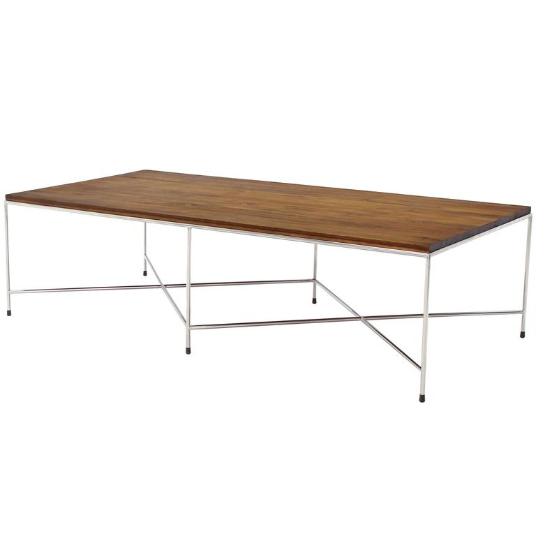 Double X-Base Solid Top Chrome Base Coffee Table For Sale