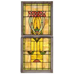 American Two-Panel Stained Glass Window