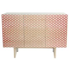 Custom Koi Credenza in Ash, Inlaid with Translucent Red Resin