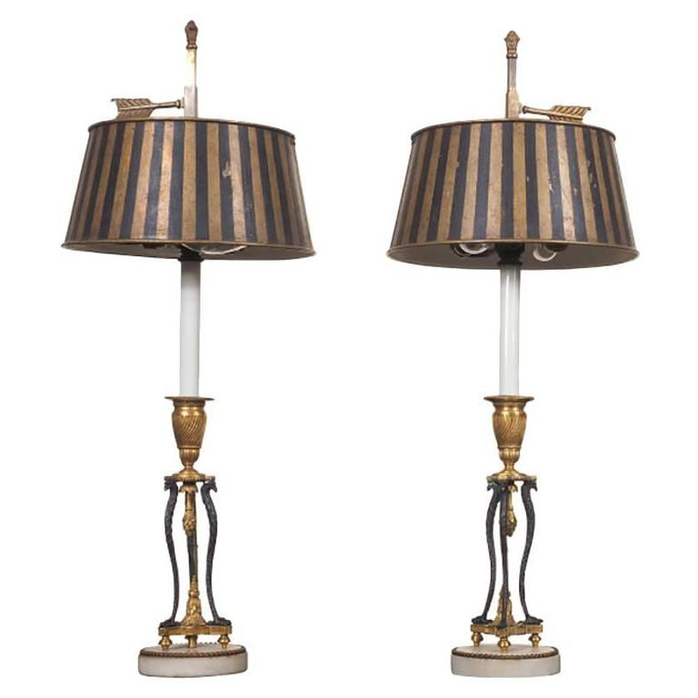 Pair of 19th Century French Patinated Gilt Bronze Candlestick Lamps