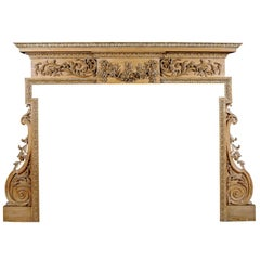 Carved English George III Style Pine Fireplace