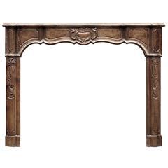 Elegant Walnut French Louis XV Style Fireplace