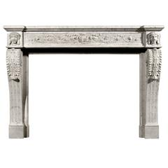 Unusual 19th Century, French XVI Style Carrara Marble Fireplace
