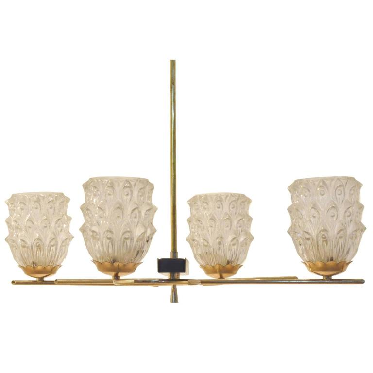 French Mid-Century Modern Design Maison Arlus Glass and Brass Chandelier Lamp