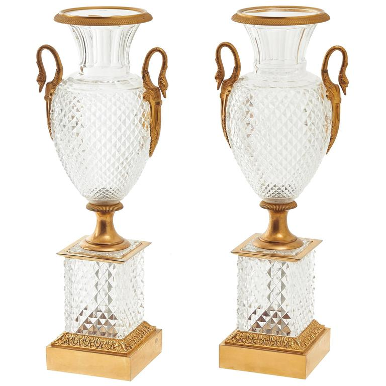 Pair of large french ormolu mounted crystal urns circa 1900 at 1stdibs - Large decorative vases and urns ...