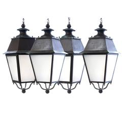 Set Four French Patinated Copper, Bronze and Iron Porch Lanterns, circa 1930