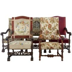 Harlequin Set of Five 19th Century Carved Baroque Armchairs