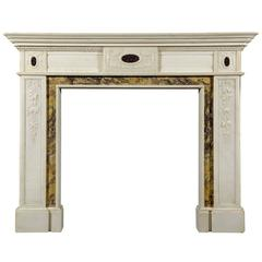 Regency Style Statuary Marble Chimneypiece Inlaid with Porphyry