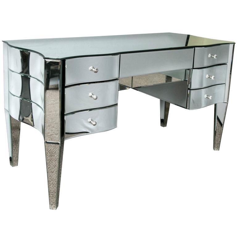 Art Deco Inspired  Beveled Mirrored Vanity Desk Hollywood Regency Style For Sale