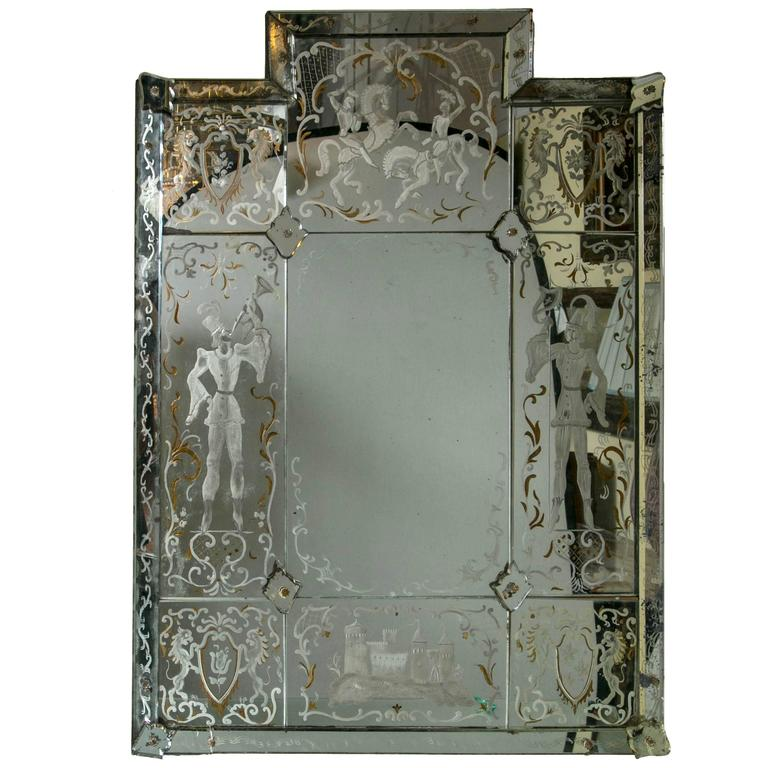 Etched Wall Mirror Antique 22 For Sale On 1stdibs