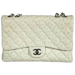 Chanel Beige Ostrich Jumbo Classic-Pristine