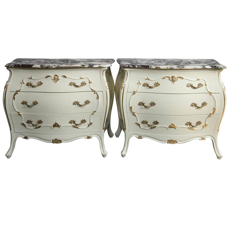 Pair of Louis XV Style Bombe Paint Decorated Marble-Top Chests