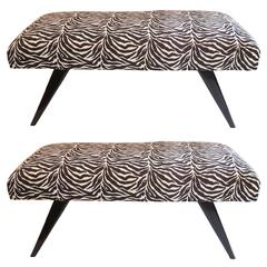 Wonderful Pair Mid-Century Modern Black Lacquered Jansen Benches Jacques Tournus