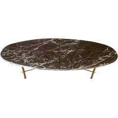 Mid-Century Black Marble Brass Base Coffee Table