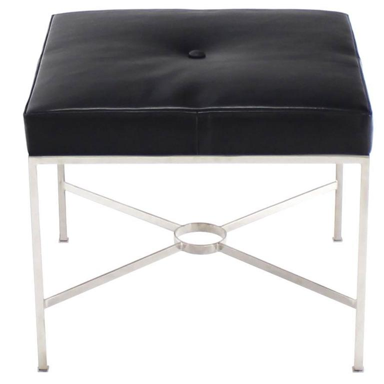 X-Base Chrome and Leather Upholstery Square Bench