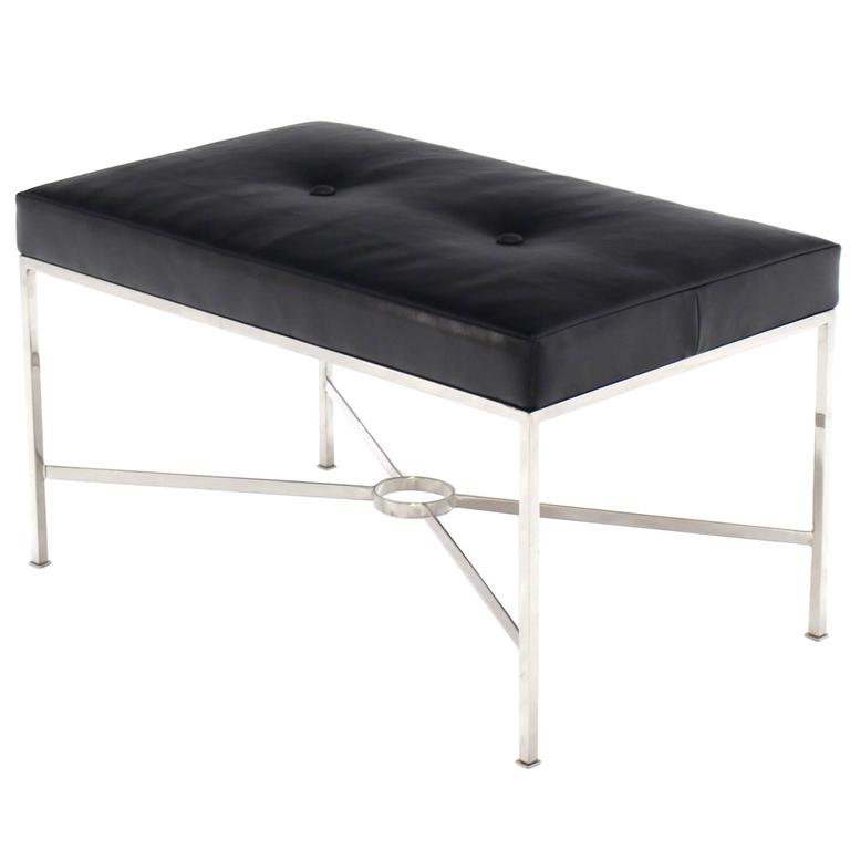 Black Leather Upholstered Rectangular X Base Bench For Sale At 1stdibs