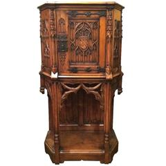 Antique 19th Century Gothic Style Cabinet on a Stand