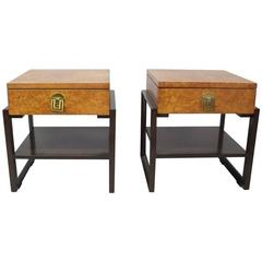Pair of Burl and Mahogany Nightstands or Side Tables Renzo Rutili