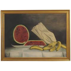 Still Life of Watermelon and Bananas