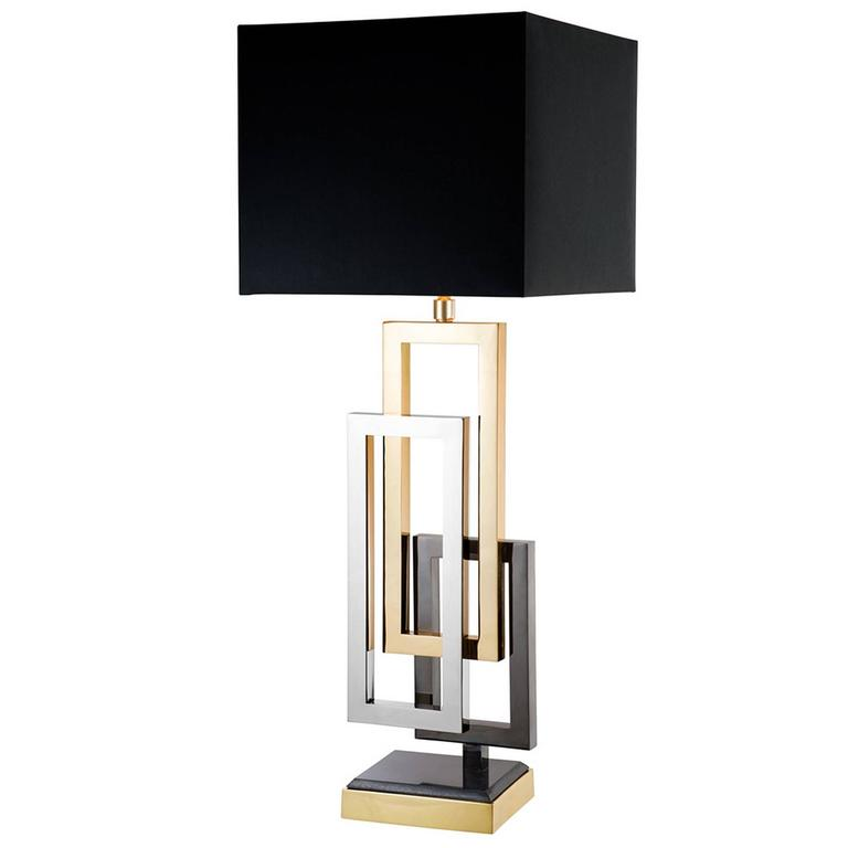 Cadres Table Lamp with Nickel Black Nickel and Gold Finish