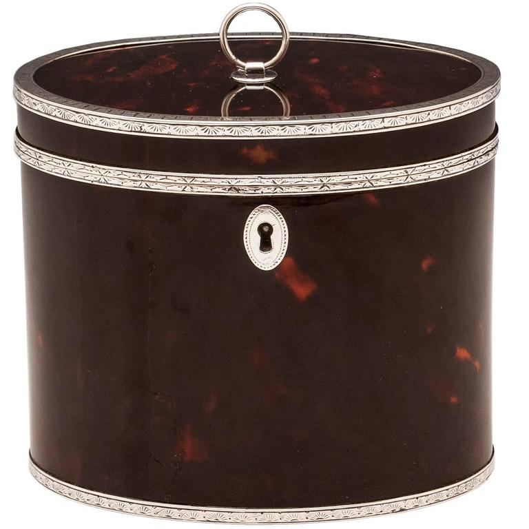 Rare Antique Red Tortoiseshell and Silver Oval Tea Caddy 1