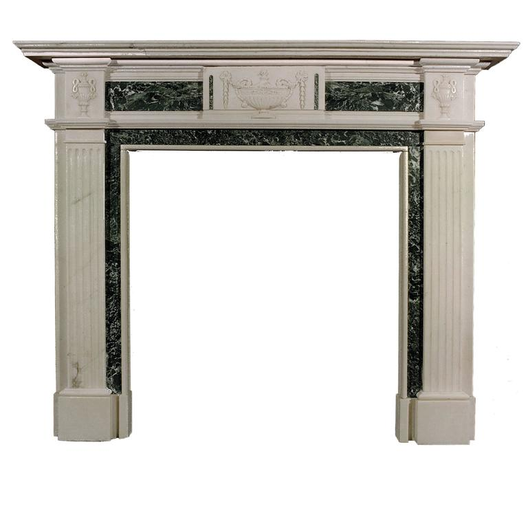 English Georgian Style Statuary and Tinos Green Antique Marble Fireplace
