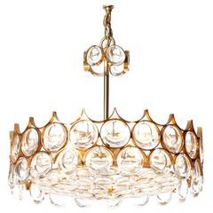 Kronleuchter Palwa Kristall Geschliffenes Glas und Vergoldetes Messing Fünf Lichter 1960er