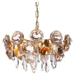 1960s Gaetano Sciolari Five-Light Gilt Brass and Crystal Glass Chandelier