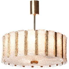 1950s large Nine-Light Gilt Brass and Frosted Glass Chandelier by Kalmar