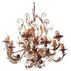 Unique 1930s Italian Outdoor Chandelier Silver Plated Brass and Crystal Flowers