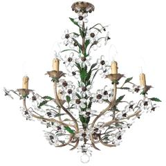 1950s Six-Light Italian Crystal & Brass Chandelier Attributed to Maison Baguès