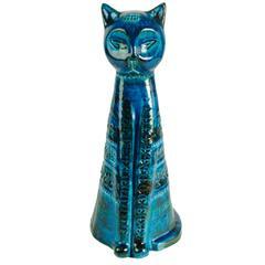 """Italian 1960s """"Rimini Blu"""" Ceramic Cat by Aldo Londi"""