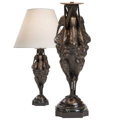 Unusual Pair of Patinated Bronze and Marble Sculptures, Now Table Lamps