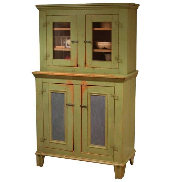 Antique Painted Step Back Cupboard At 1stdibs