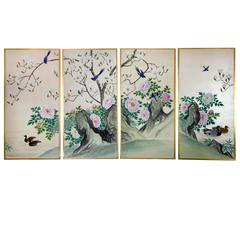 Four Framed Hand-Painted Chinese Wallpaper Panels