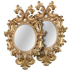 Early 19th Century Pair of Italian Baroque Giltwood Mirrors