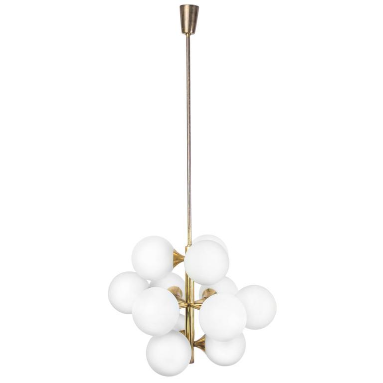 Mid-Century Modernist 1960s Brass Sputnik Chandelier