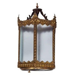 Elegant English Embossed Brass Hall Light