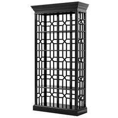 Otello Black Cabinet in Solid Mahogany Wood Black Finish