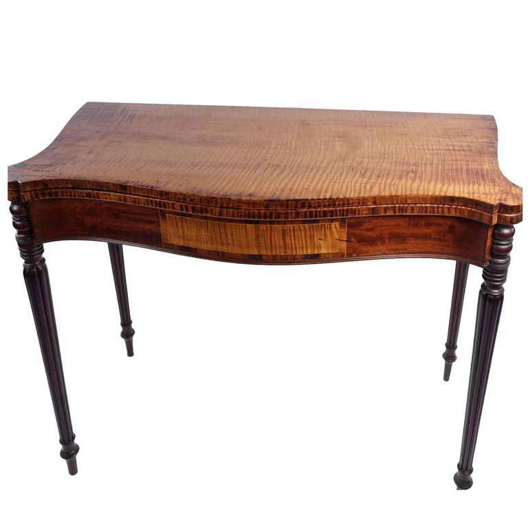 finely figured american tiger maple turret top game table for sale at 1stdibs. Black Bedroom Furniture Sets. Home Design Ideas