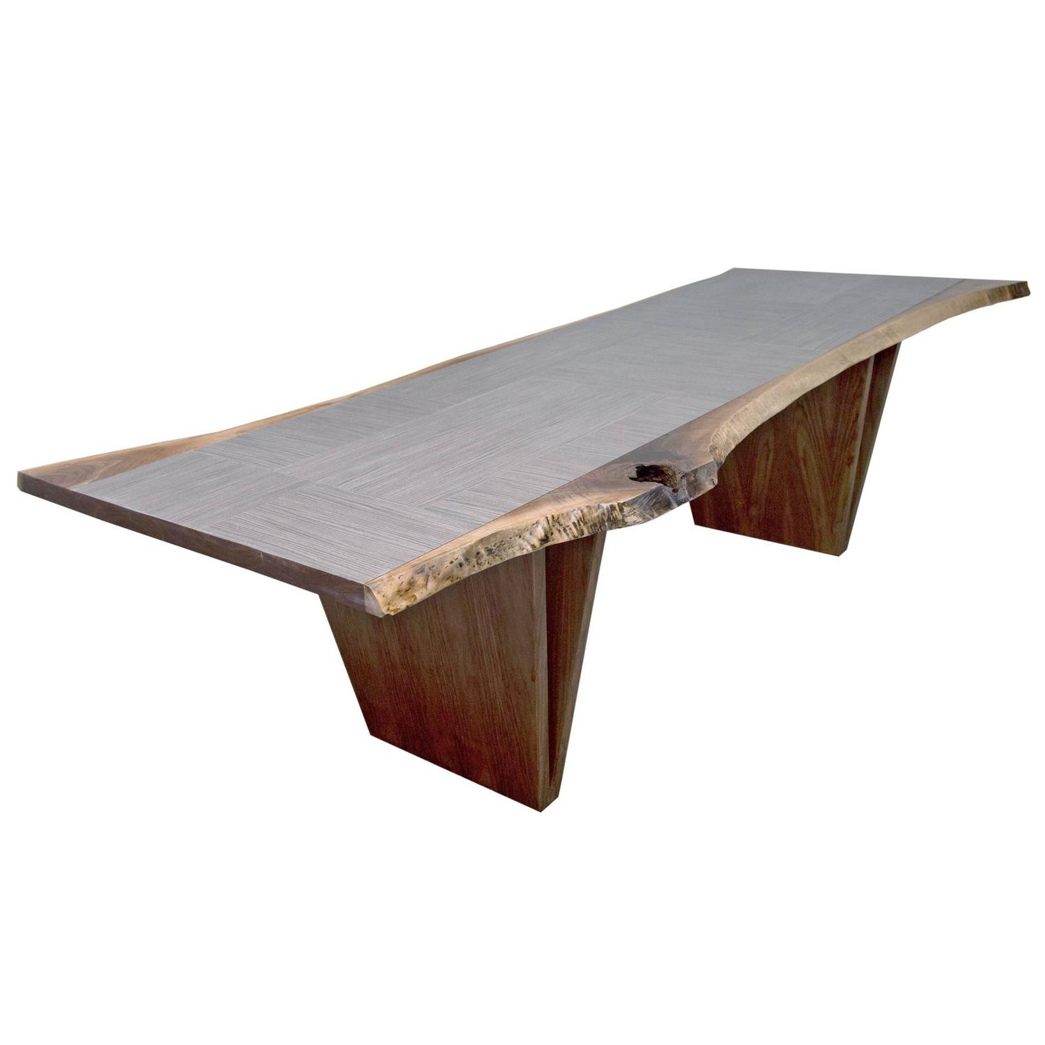 Sentient Live Edge American Black Walnut Shapes Table with Grey