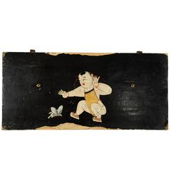 """""""Lotus Boy with Butterfly"""" Folk Painted Panel"""