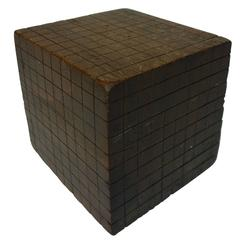 "Wood ""Base Ten"" Cube Educational Model"