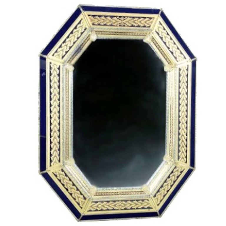 Venetian Murano Glass Octagonal Mirror For Sale