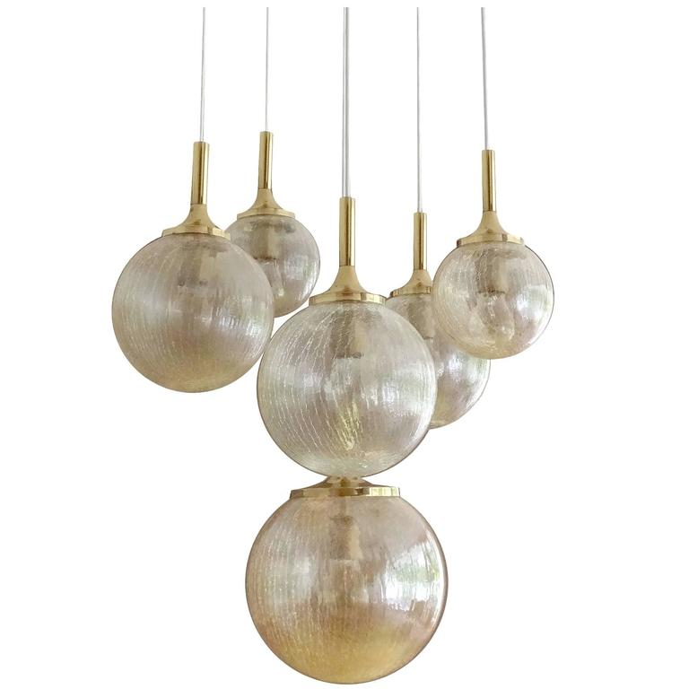 large limburg glass globes u0026 brass chandelier 1960s sciolari style pendant 1 - Brass Chandelier