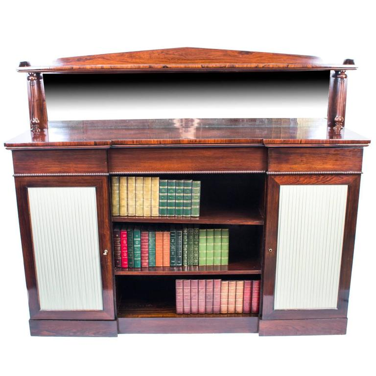 Rosewood Bookcase: Antique William IV Rosewood Chiffonier Open Bookcase, 1835