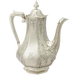 Antique Victorian Sterling Silver Coffee Pot by Edward & John Barnard